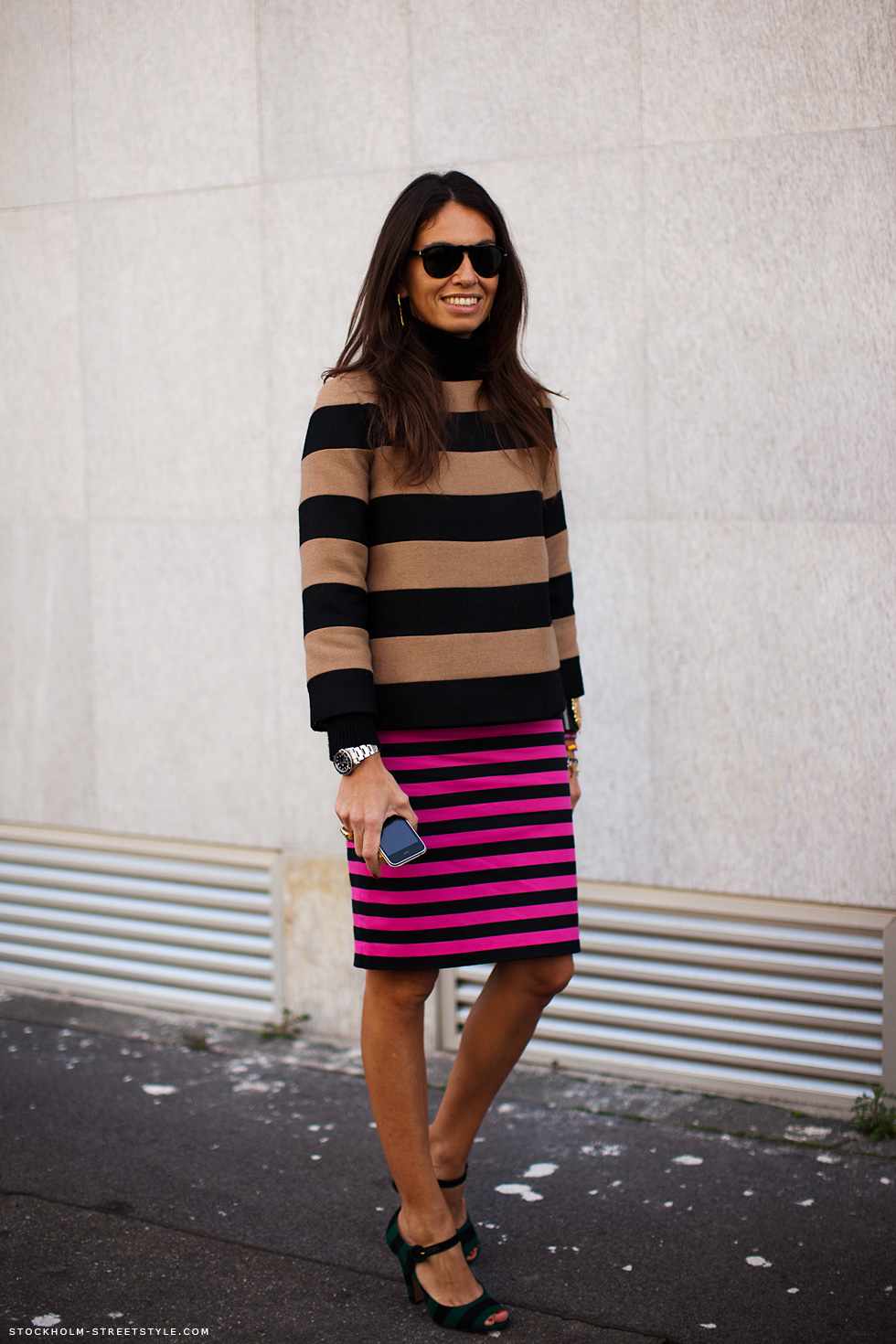 viviana volpicella milan fashion week striped sweater and skirt outfit street style sartorialist
