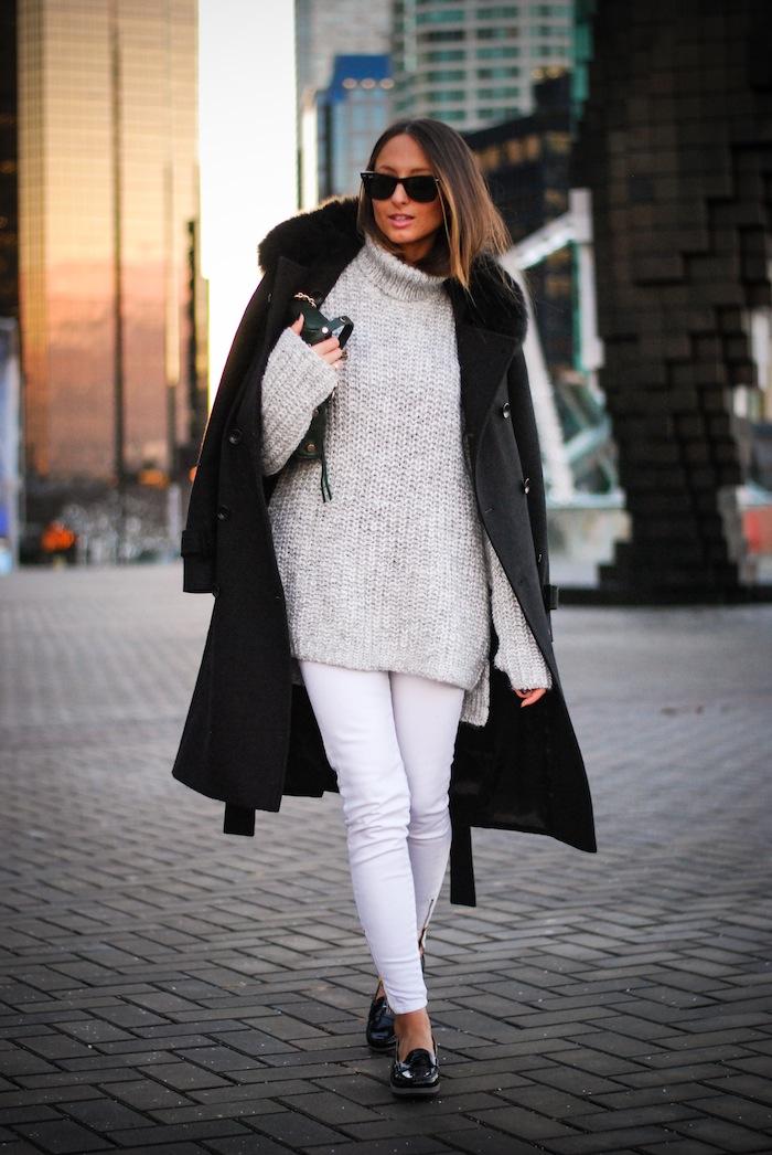 zara knit street style outfit inspiration ombre hair keratin