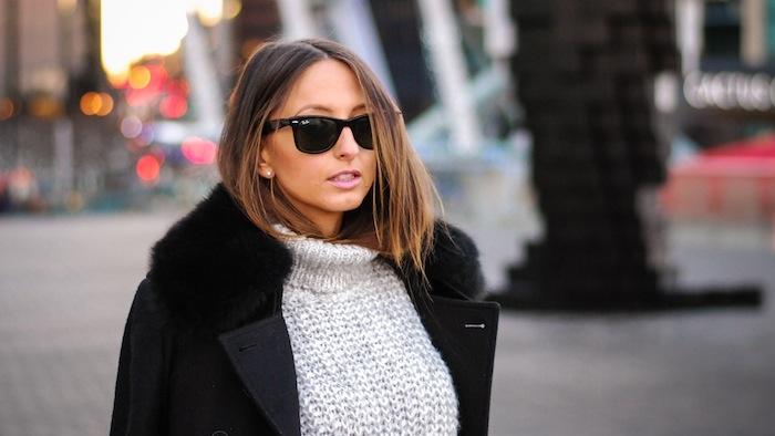 ray ban sunglasses knitwear womenswear black trenchcoat