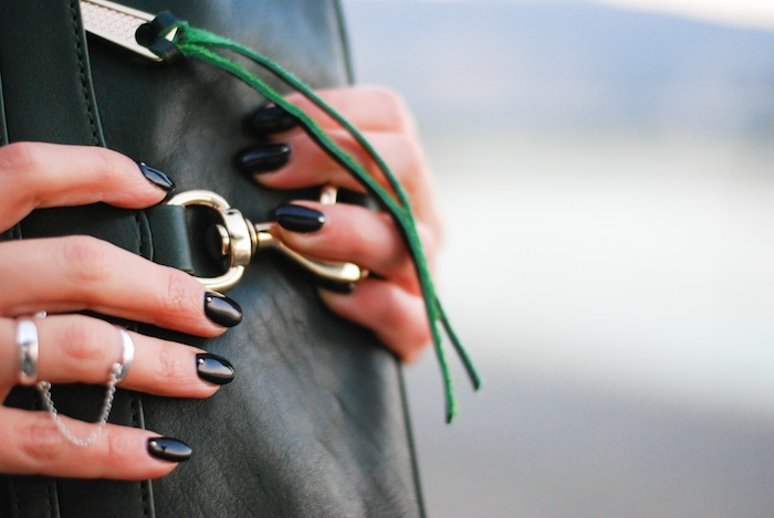 rebecca minkoff morning after clutch MAC mini nail art silver rings