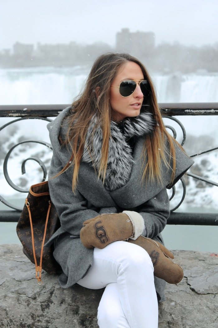 outerwear grey coat long hair style ombre how to style a coat white pants