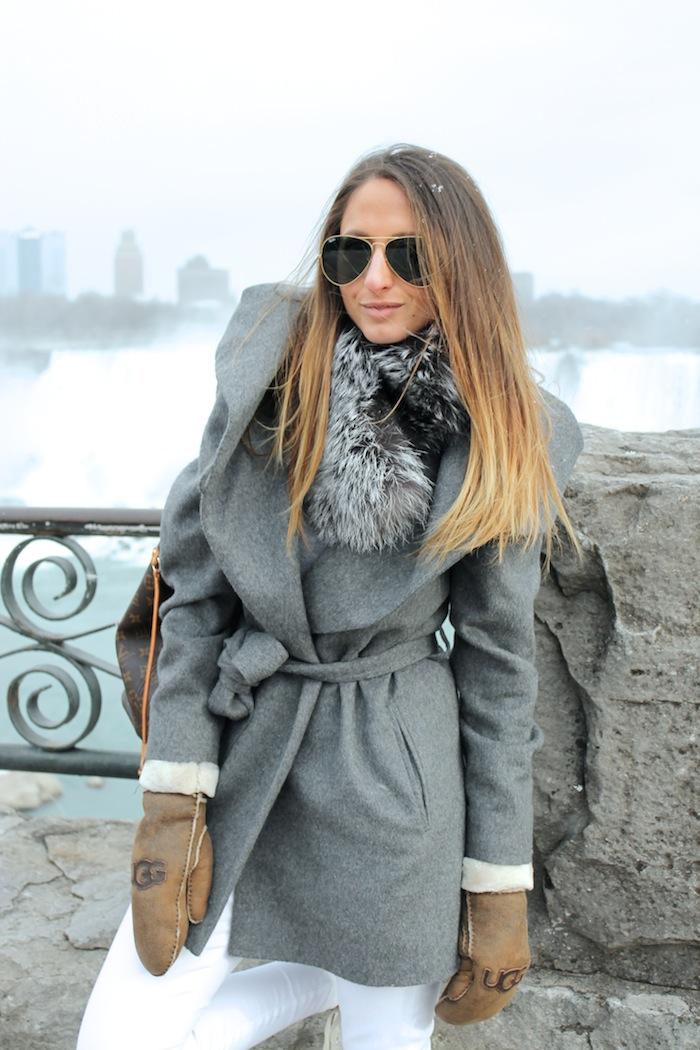 style blog best canadian fashion blogger silver fox fur collar ugg mittens