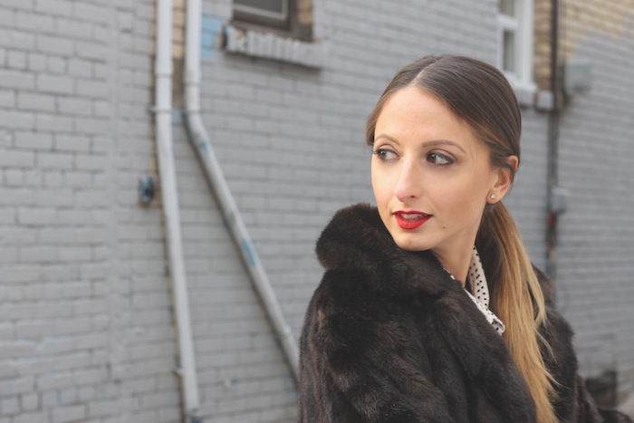 how to wear red lipstick and faux fur winter style