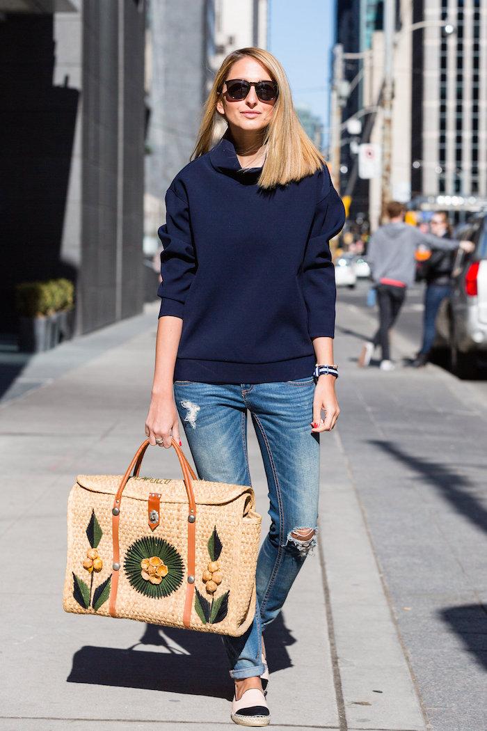Justine Iaboni Style Straw Bag Ripped Jeans 07