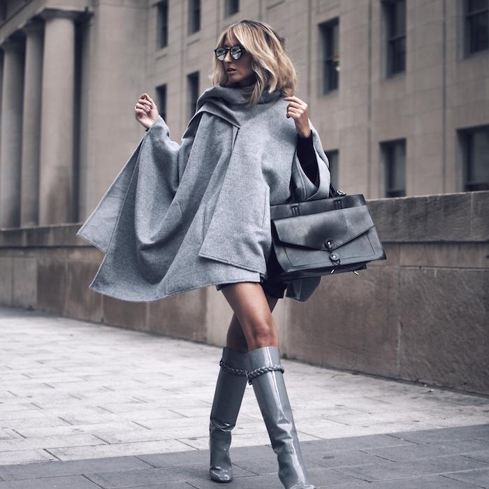 Grey poncho style