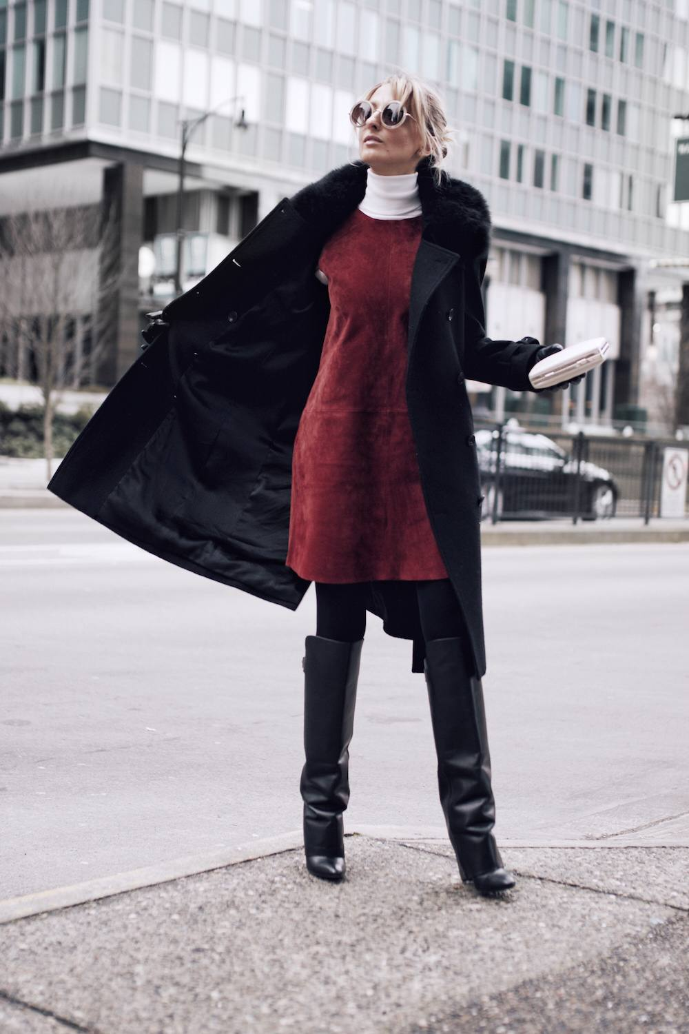 How to style a red suede dress
