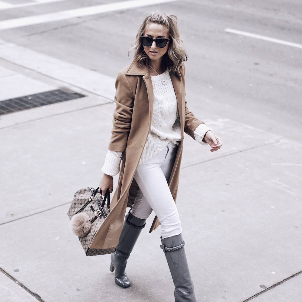 Camel Coat White Jeans 10