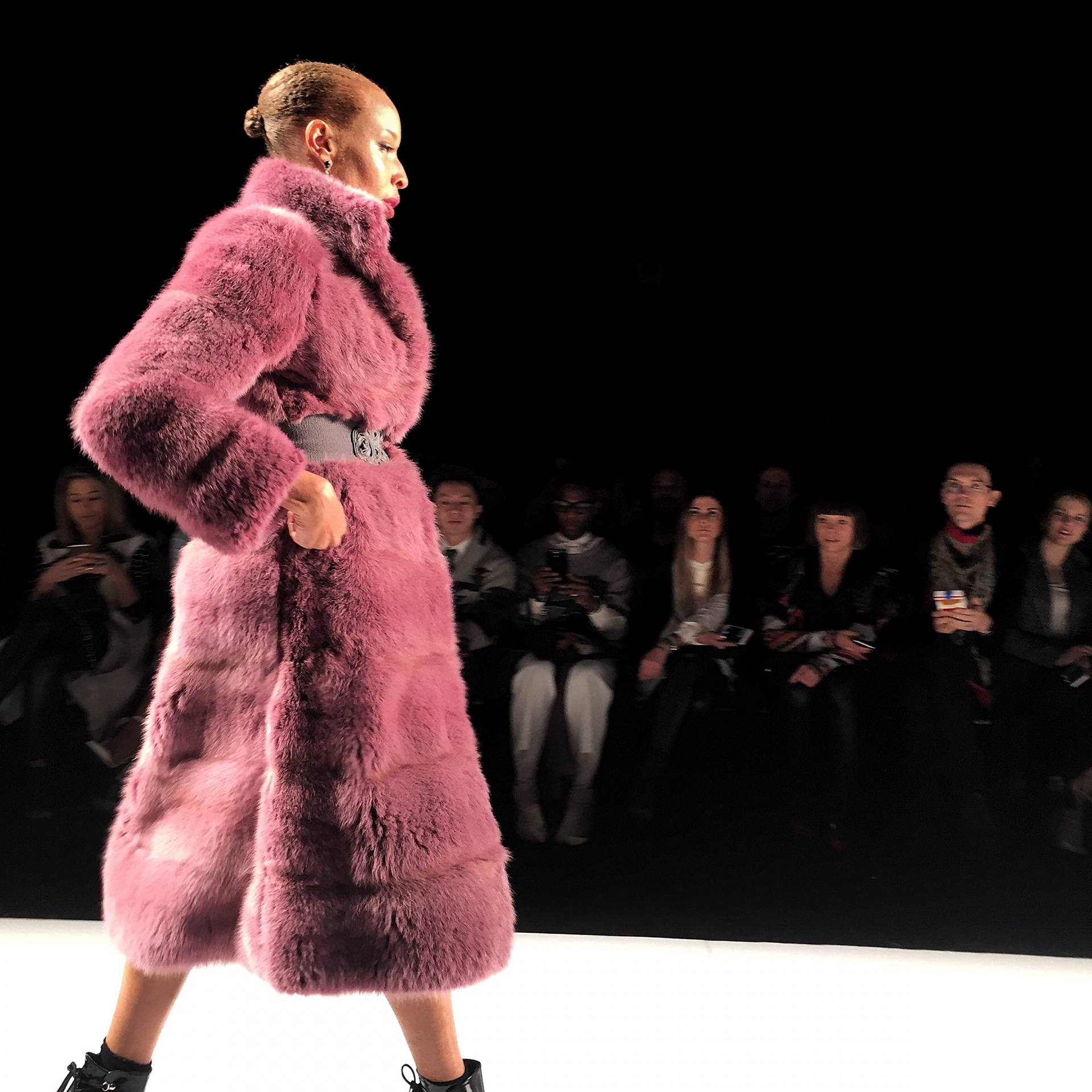 Coloured fur runway