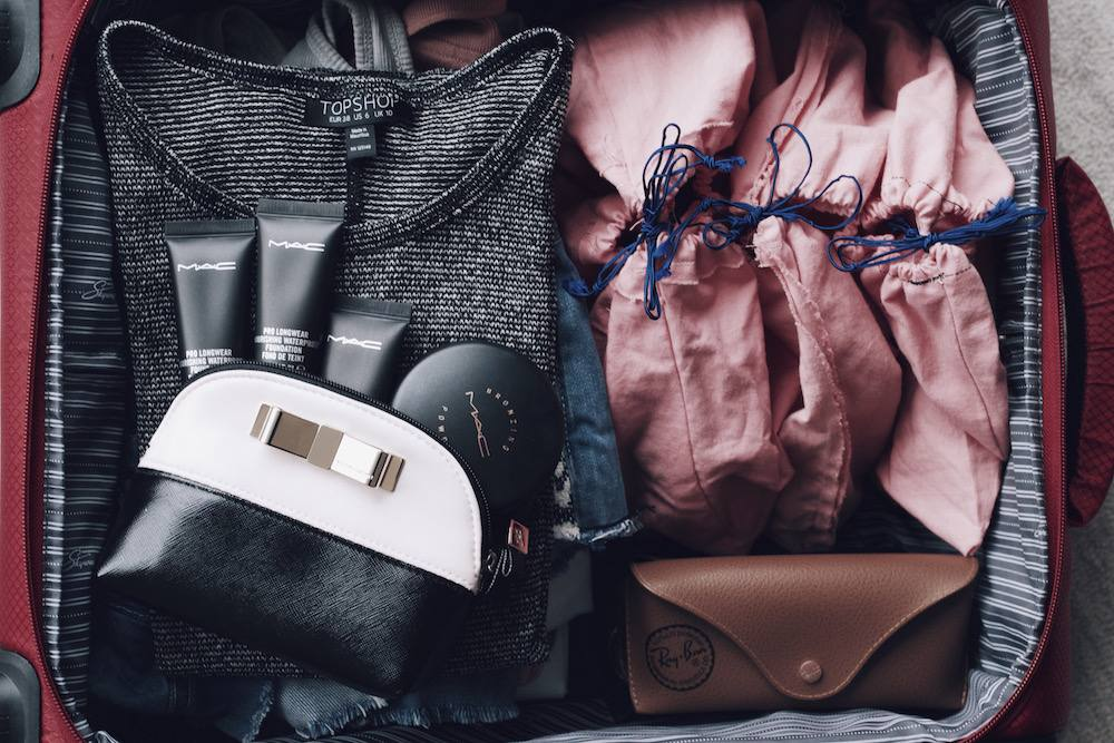 suitcase flatlay