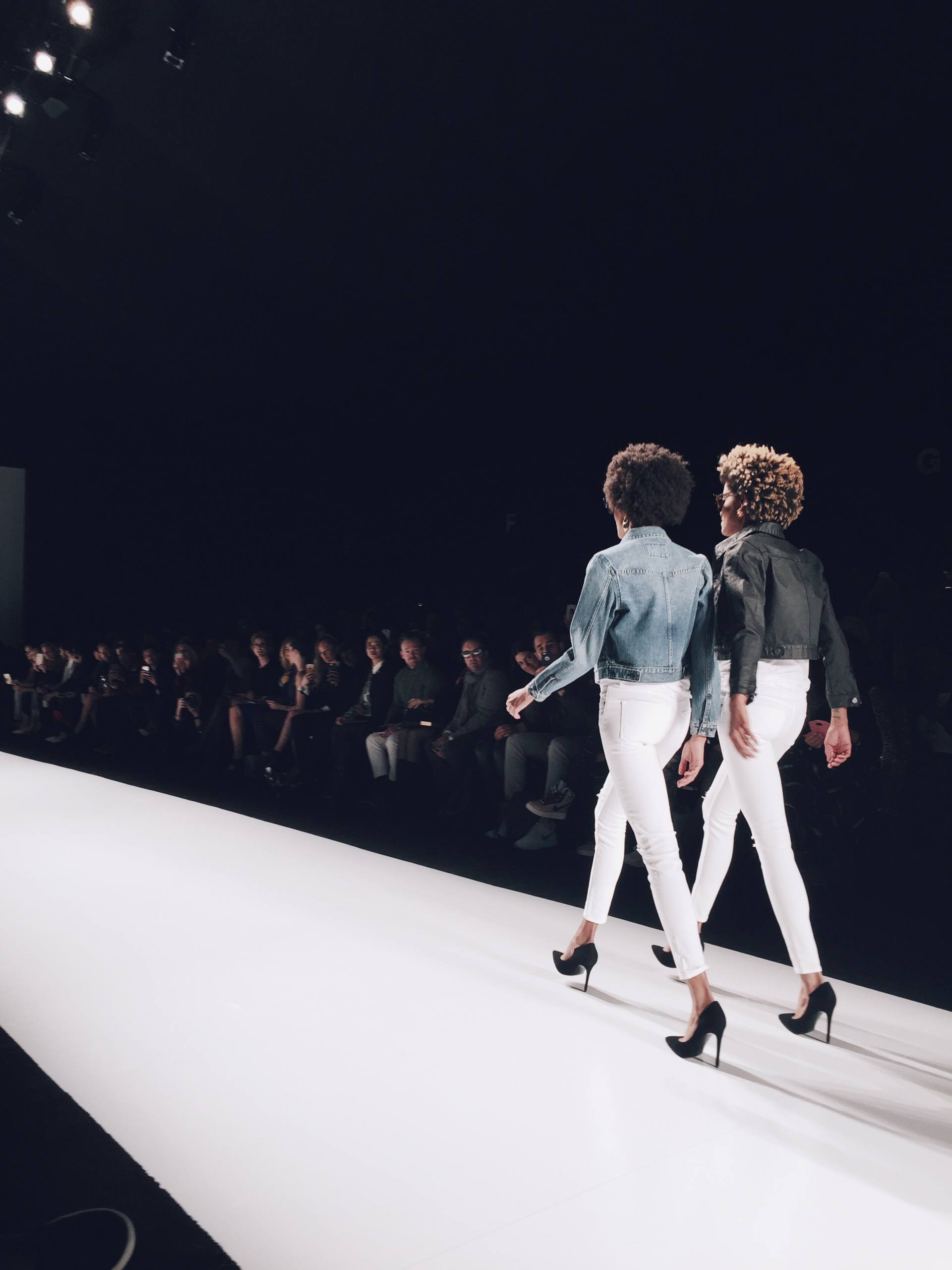 white jeans on the runway