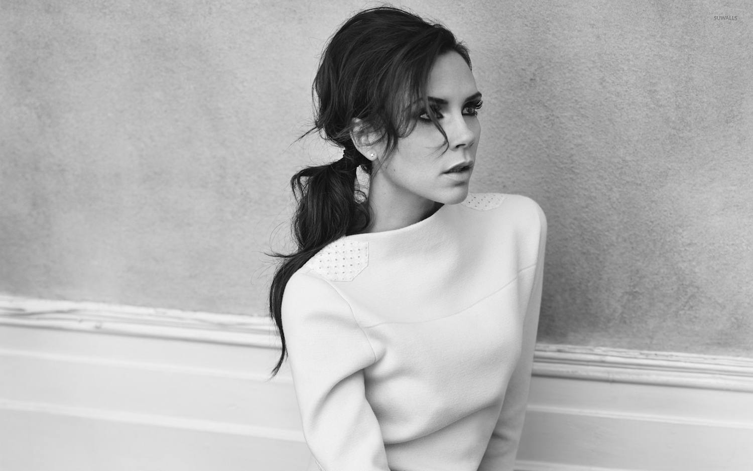 victoria beckham black and white image