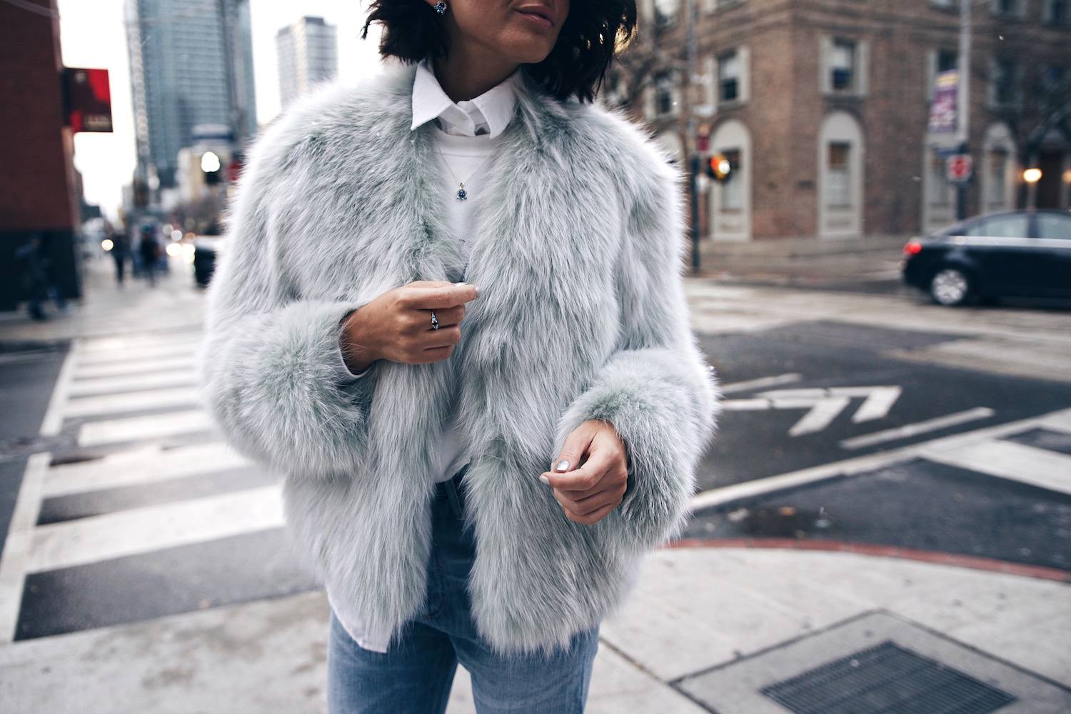 mint fur jacket